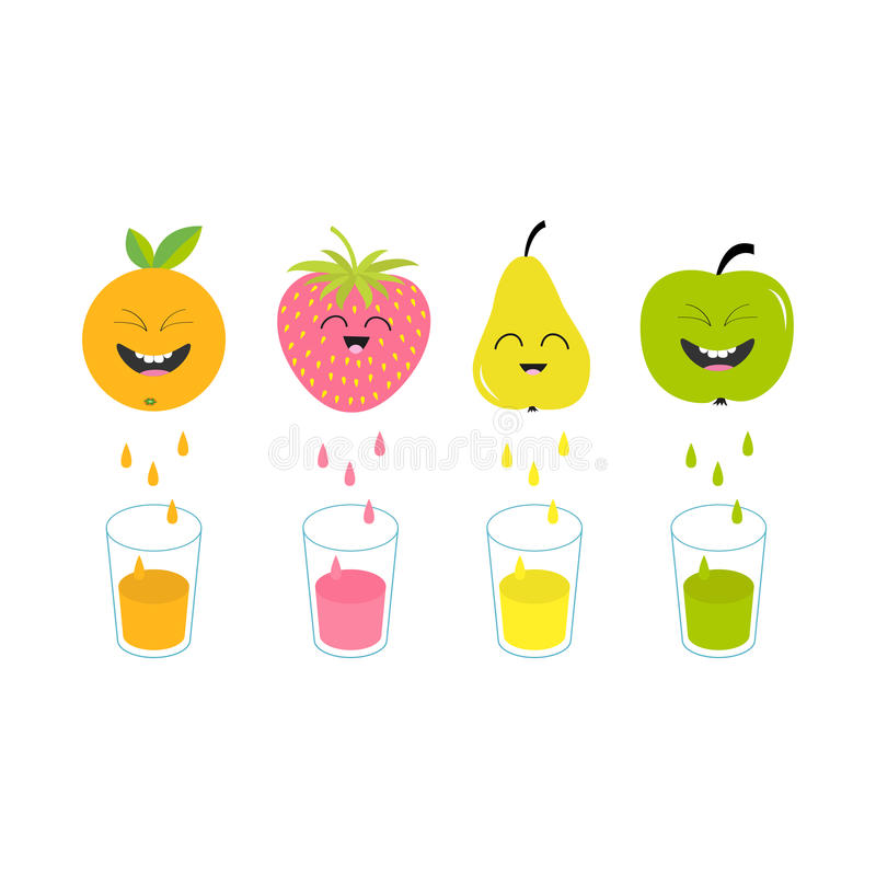 Fresh juice and glasses. Apple, strawberry, pear, orange fruit with faces. Smiling cute cartoon character set. Natural. Product. Juicing drops. Flat design stock illustration
