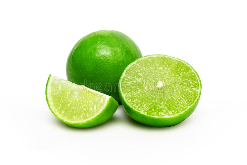Fresh and Juice Limes Group on iSolated White Background. Clipping Path Added.  stock images