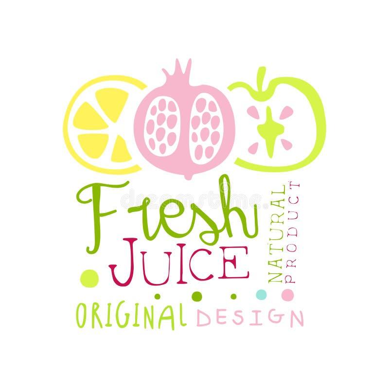 Fresh juice natural product original design logo template, multifruit juice label, eco product element, colorful hand vector illustration