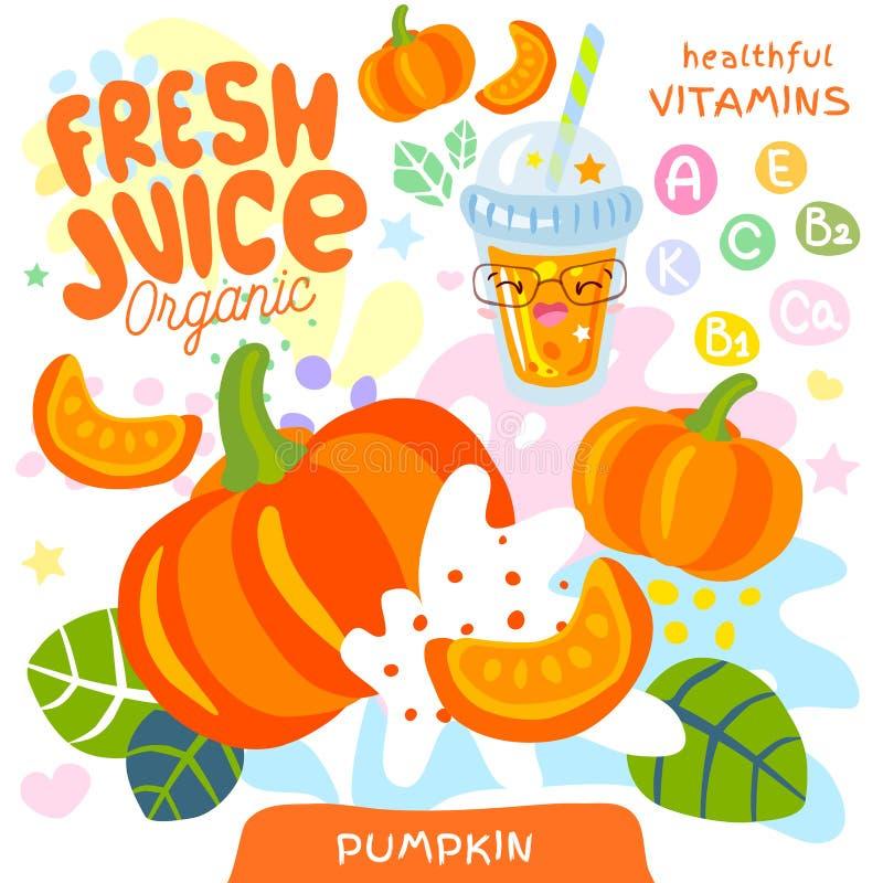 Fresh juice organic glass cute kawaii character. Pumpkin vegetable yummy smoothies cup. Vector illustration. stock illustration