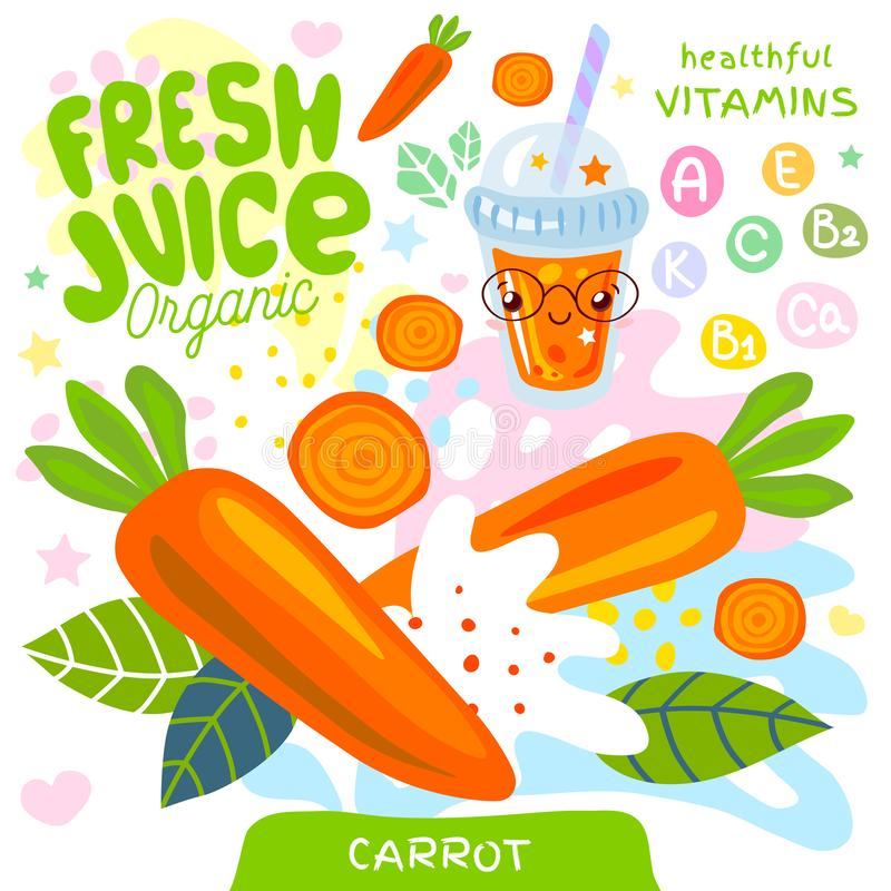 Fresh juice organic glass cute kawaii character. Carrot vegetable yummy smoothies cup. Vector illustration. vector illustration