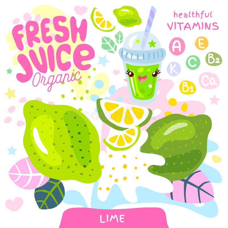 Fresh juice organic glass cute kawaii character. Lime citrus tropical exotic yogurt smoothies cup. Vector illustration. royalty free illustration