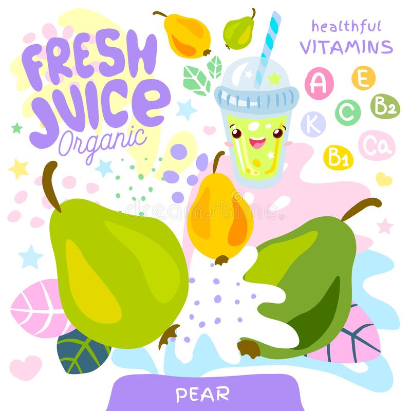 Fresh juice organic glass cute kawaii character. Pear yogurt smoothies cup. Vector illustration. vector illustration