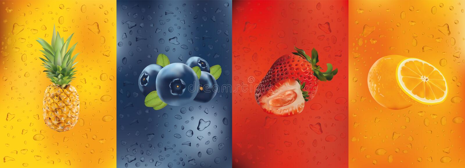 Fresh juice, pineapple, orange, strawberry, blueberry. Cocktail with fruits. Drink. 3D fresh fruits. Fruit splashes stock illustration
