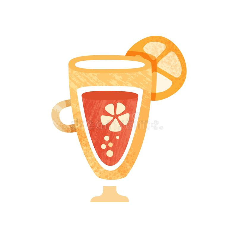 Fresh juice with slice orange on glass. Sweet and healthy beverage. Refreshing summer drink. Flat vector icon with stock illustration