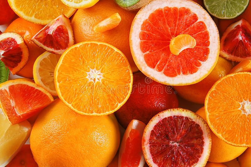 Fresh juicy citrus fruits. Closeup stock photos