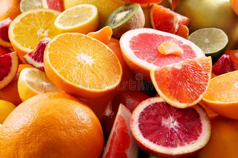 Fresh juicy citrus fruits. Closeup stock images
