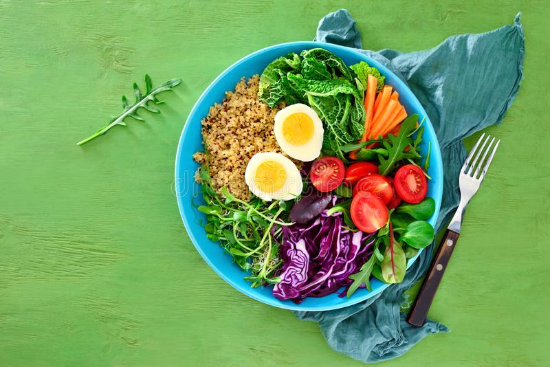 Fresh juicy and crusty buddha bowl healthy meal with quinoa and royalty free stock photos