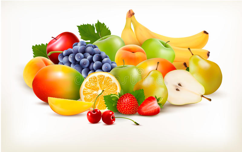 Fresh juicy fruit and berries isolated on white background. Vector vector illustration