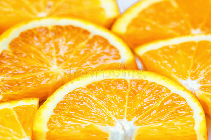 Fresh juicy orange fruit slice isolated. Citrus fruit-natural vitamin C. royalty free stock photos