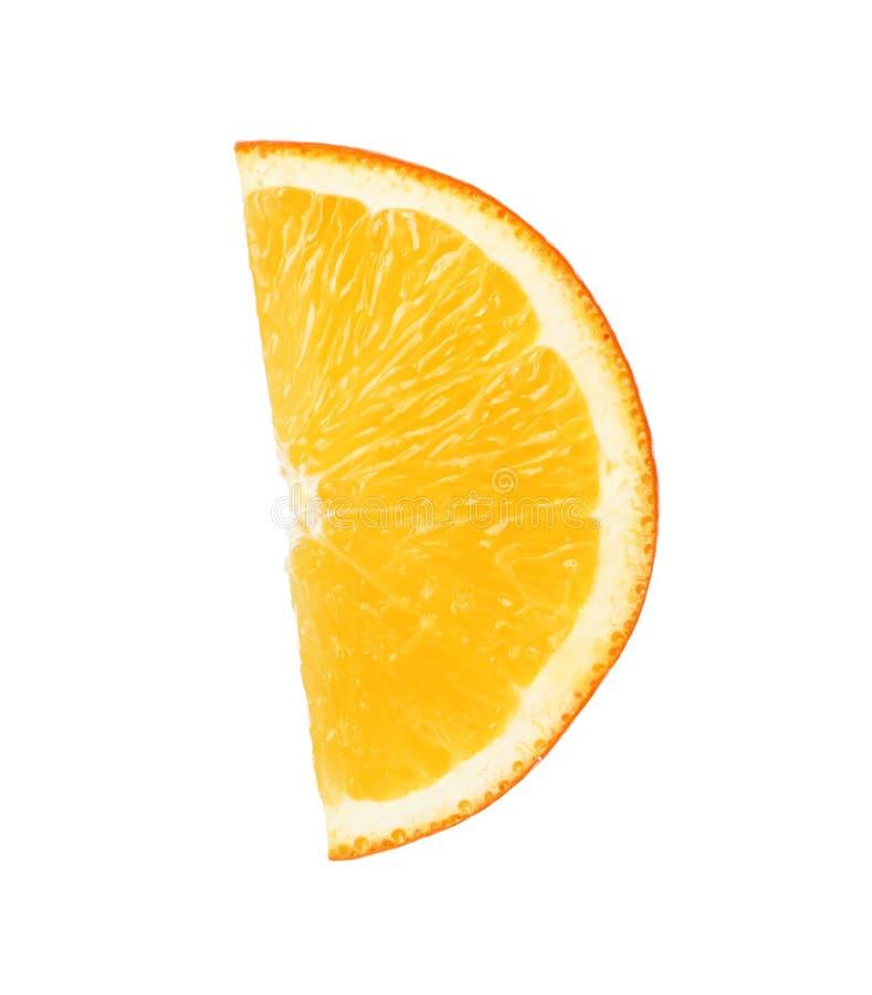 Fresh juicy orange slice isolated. On white stock photo