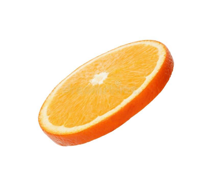 Fresh juicy orange slice isolated. On white royalty free stock images