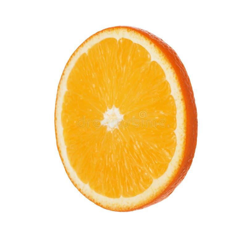 Fresh juicy orange slice on white. Fresh juicy orange slice isolated on white stock photo