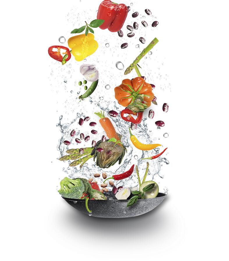Fresh Juicy organic vegetables falling  into cooking pot with water splash. Veggy concept royalty free stock image