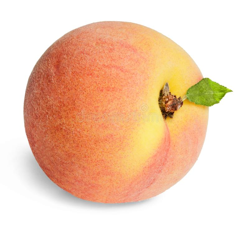 Fresh juicy peach isolated on white. Bright saturated colors. Design element for print and web royalty free stock photography