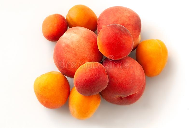Fresh juicy peaches fruits and ripe apricots isolated on white background. Summer fruit concept. Close-up stock photography