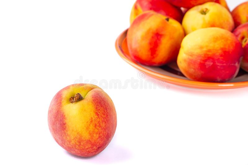 Fresh and juicy peaches. Isolated with background. Fruit on a white background. royalty free stock image