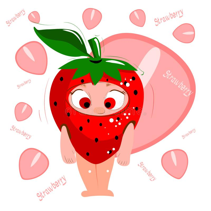 Fresh juicy red cartoon character strawberry. stock images