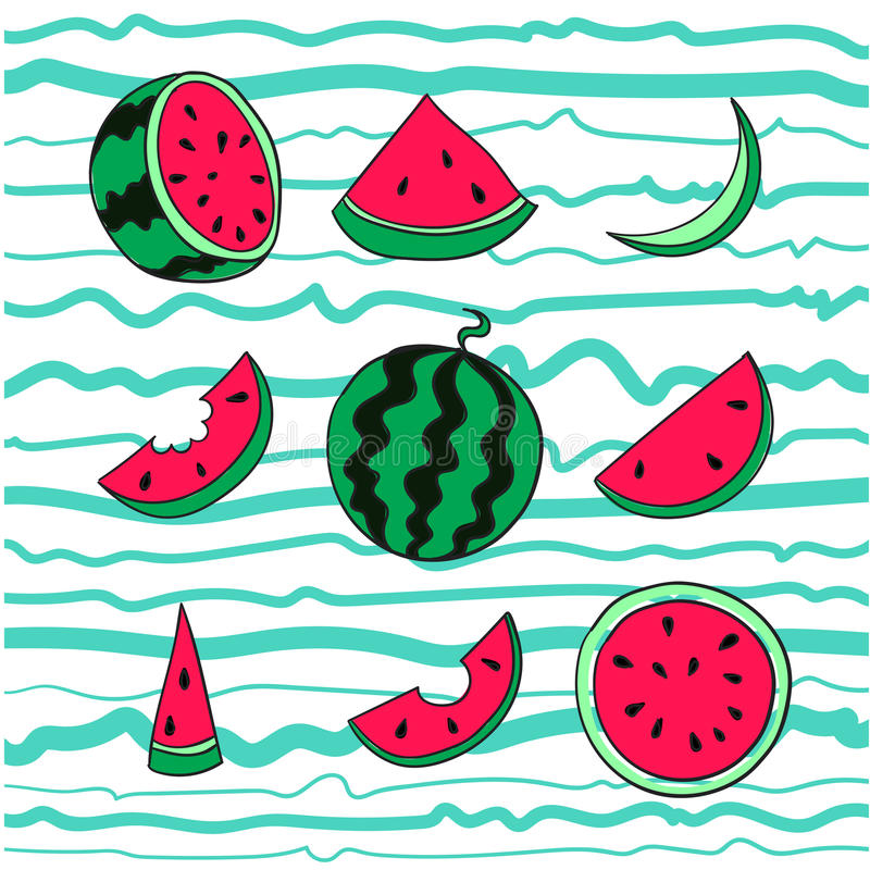 Fresh and juicy whole watermelons and slices on striped blue background royalty free illustration