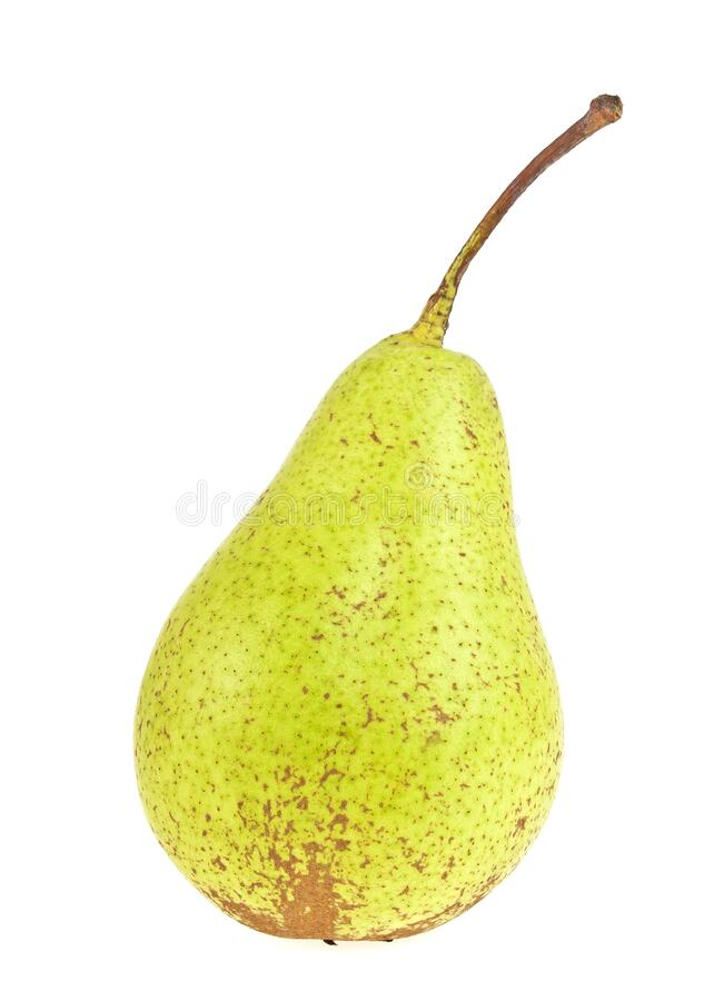 Fresh juicy yellow pear isolated on white background. Fresh juicy yellow pear isolated on a white background stock photo