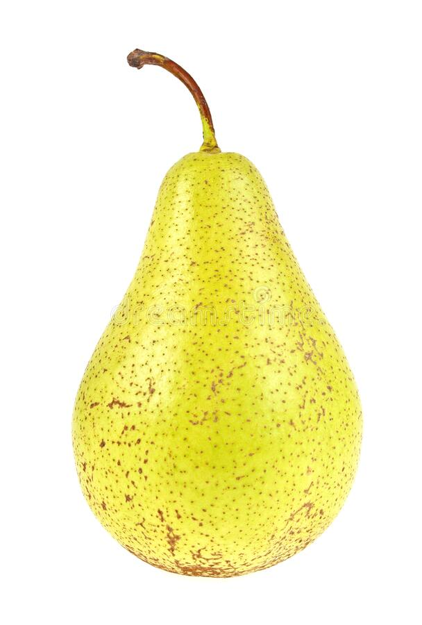 Fresh juicy yellow pear isolated on white background. Fresh juicy yellow pear isolated on a white background royalty free stock photos
