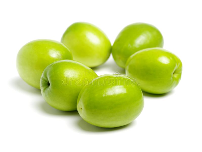 Fresh jujubes on white. It also called the Chinese green jujube,it is produced in China Taiwan stock photo