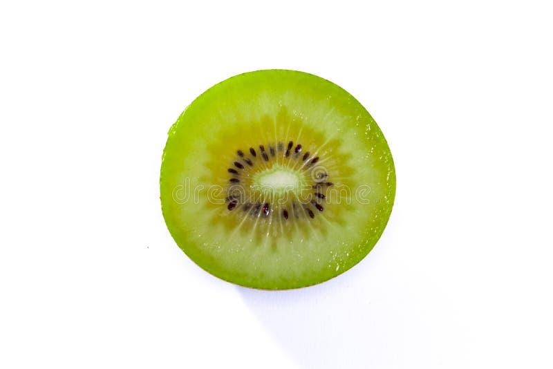 Fresh Kiwi Slice Half Cut Fruit Green Seeds Radial Texture Detail Isolated White Background Round Circle stock photos