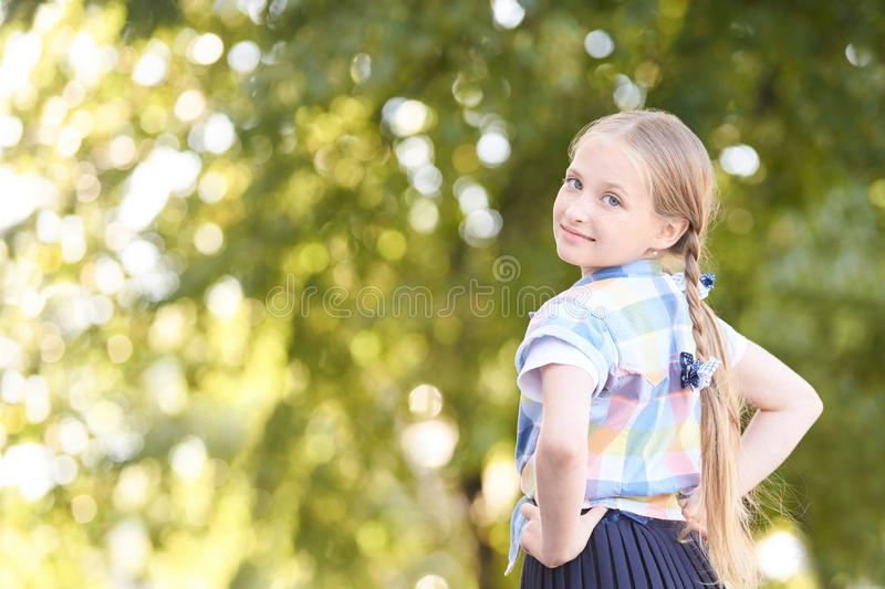 Fresh lady dreamy. Back. travel holiday outdoor. teen girl royalty free stock photo