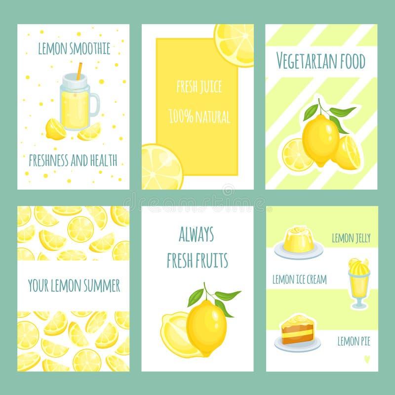 Fresh lemon cards. Lemonade and lemon citric juice with sliced and fresh fruits. Vector retro template stock illustration