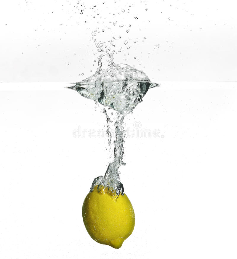 Download Fresh Lemon Dropped Into Water Stock Image - Image: 10722403