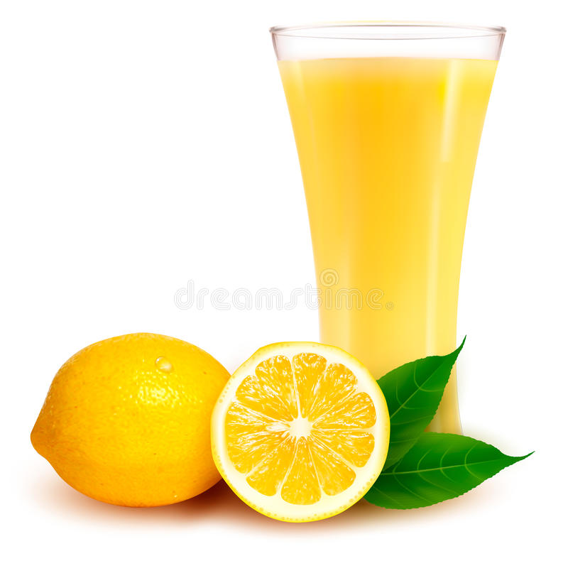 Download Fresh Lemon And Glass With Juice Stock Vector - Illustration of food, acid: 25854165