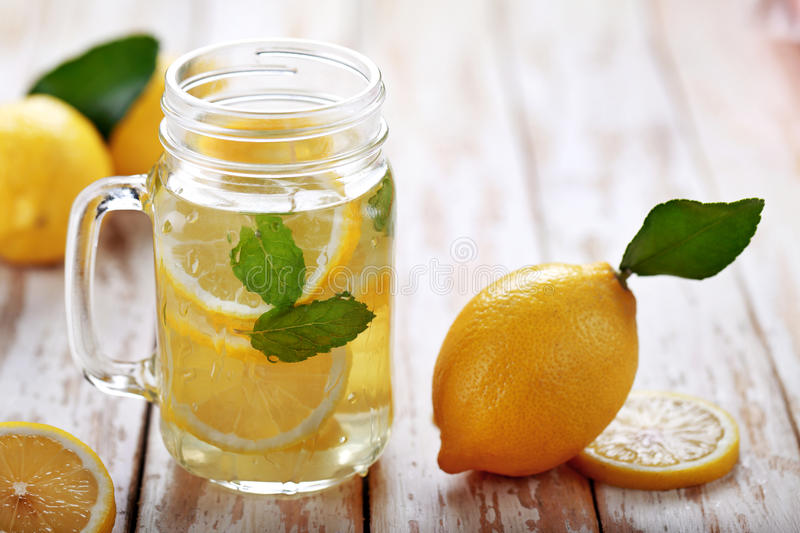Fresh lemon infused water with ingredients royalty free stock photo