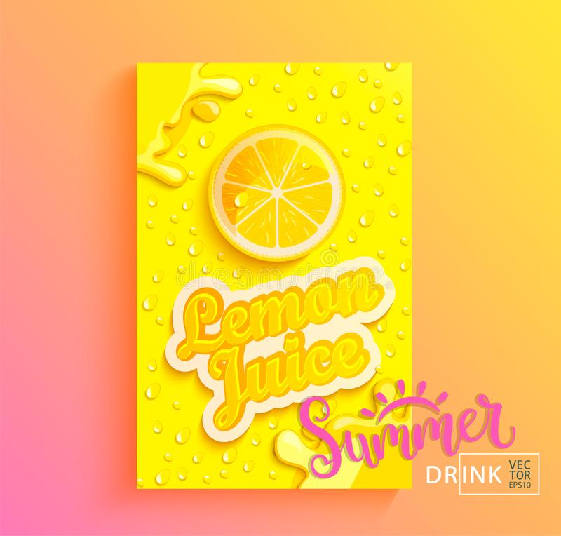 Fresh lemon juice. Fresh lemon juice banner with drops from condensation, splashing and fruit slice on gradient hot summer background for brand,logo, template stock illustration