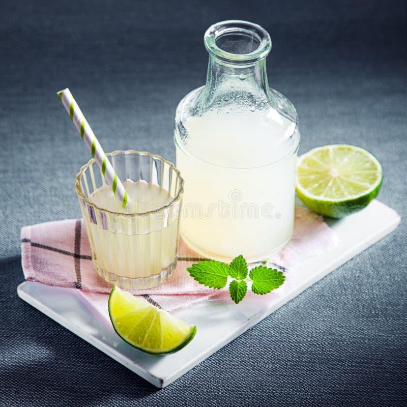 Fresh lemon juice or lemonade with mint stock photography