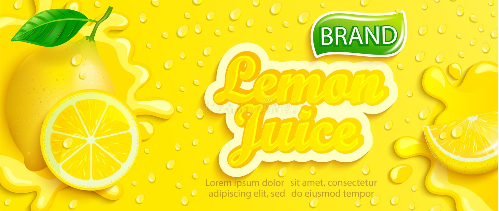 Fresh lemon juice splash banner with apteitic drops. From condensation, fruit slice on gradient yellow background for brand,logo, template,label,emblem,store vector illustration