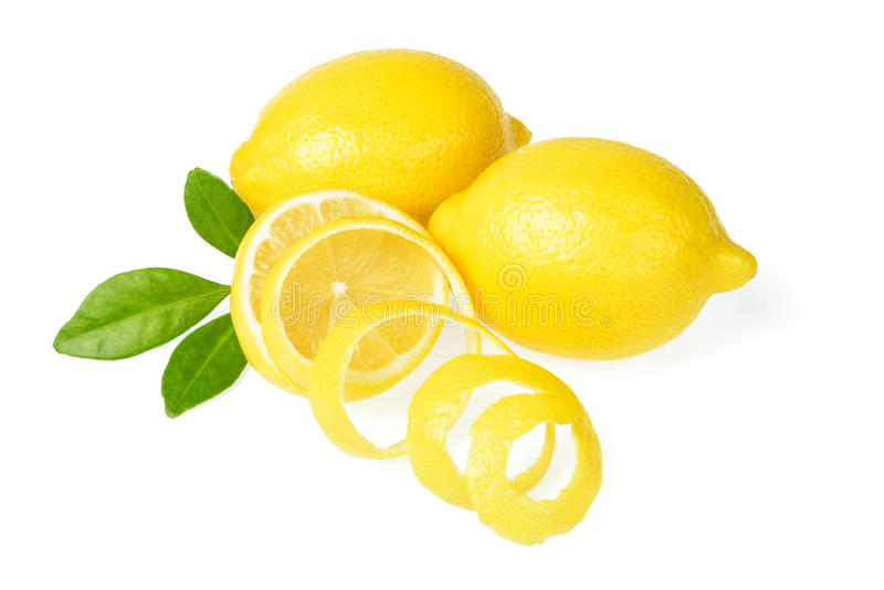 Fresh lemon and lemon peel royalty free stock photo
