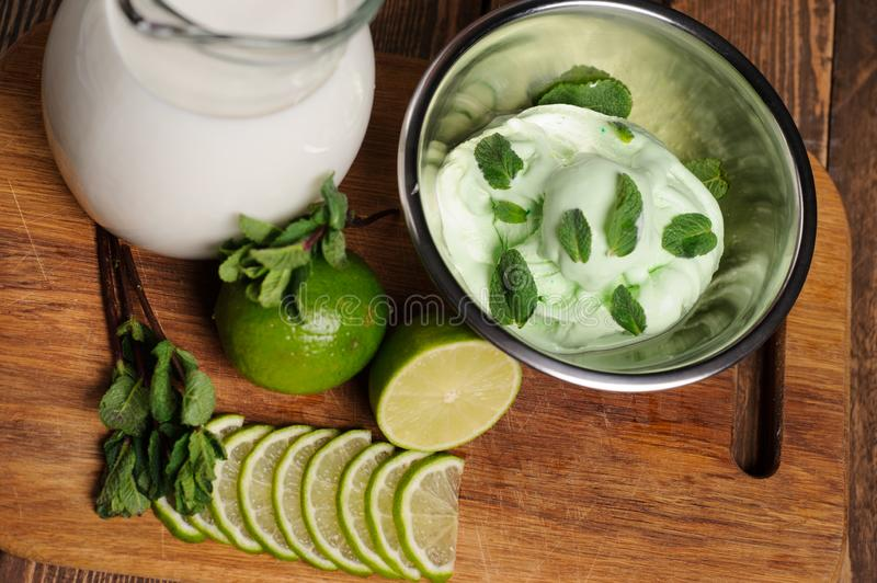 Fresh lemon and lime homemade ice cream in a white cup of milk. Fresh lemon and lime ice cream in a white cup of milk, roll, chocolate, dessert, cooking, food royalty free stock photos