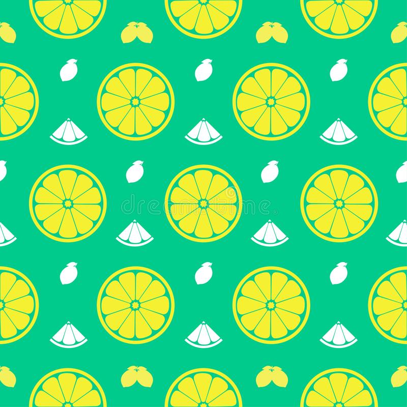 Fresh lemon, orange fruits seamless pattern background vector format royalty free illustration
