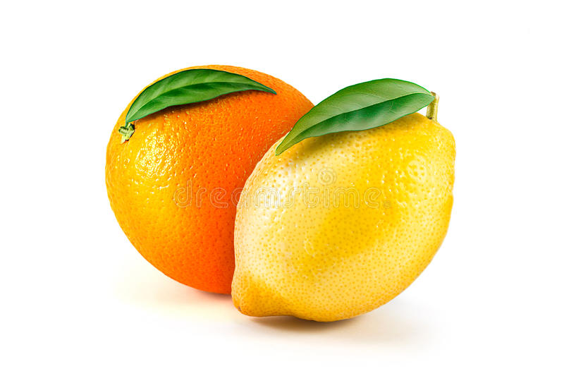 Fresh lemon and orange isolated on white royalty free stock image