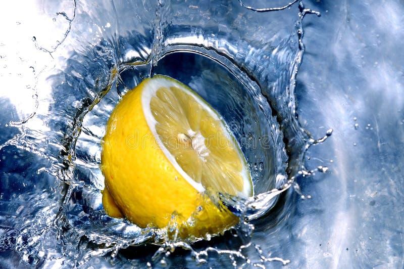 Fresh lemon in water stock image