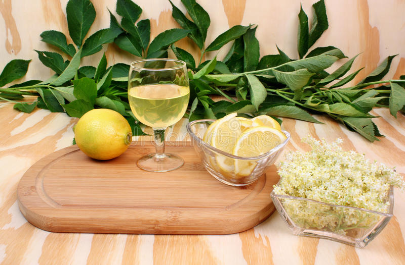 Fresh lemonade with elderberry flowers stock photos
