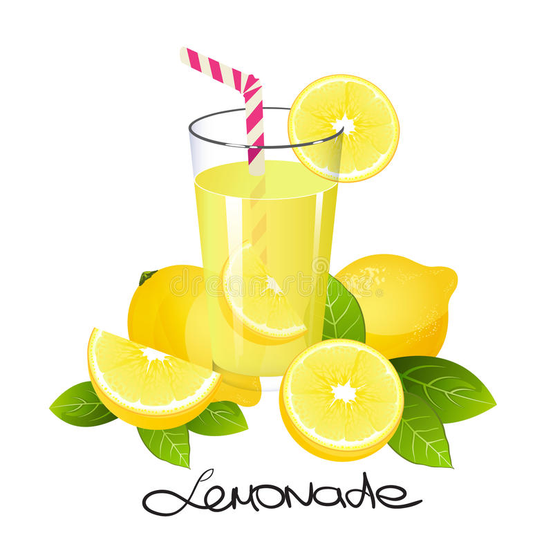 Fresh lemonade with lemon fruit slice. Realistic juicy citrus with leaves vector illustration vector illustration