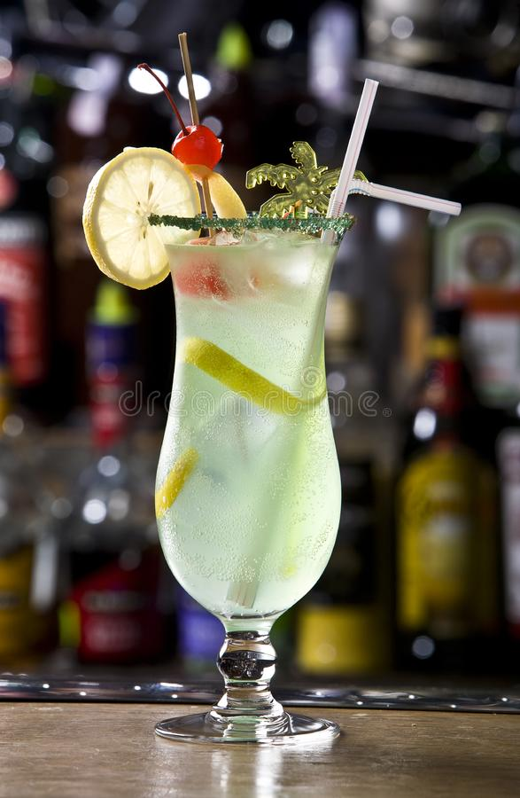 Fresh lemonade from lime with ice close up royalty free stock photography