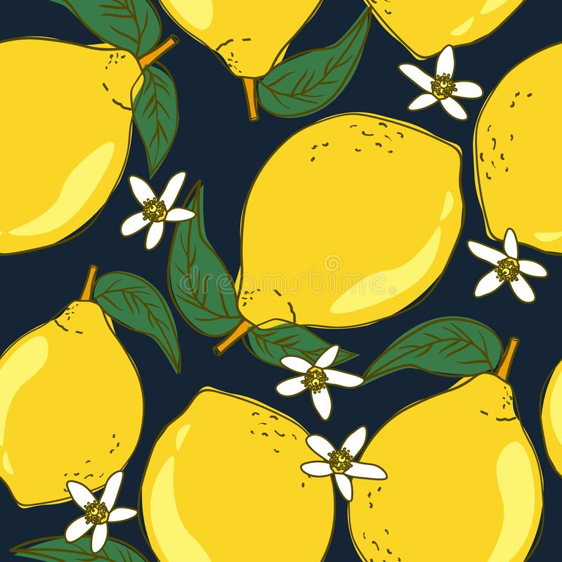 Colorful seamless pattern with ripe lemons, leaves. Decorative background with citrus fruits, flowers. Fresh lemons, background. Hand drawn overlapping backdrop stock illustration