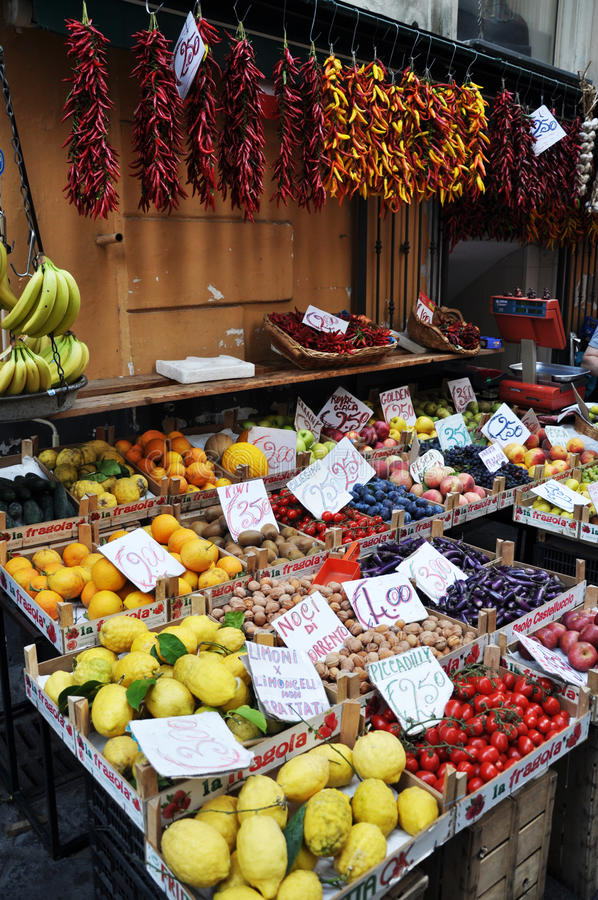 Fresh lemons, oranges and other fruits and vegetables on a street market in Sorrento, Amalfi Coast -Italy stock images