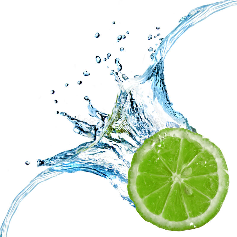 Download Fresh Lime Dropped Into Water With Splash Stock Image - Image: 13477241