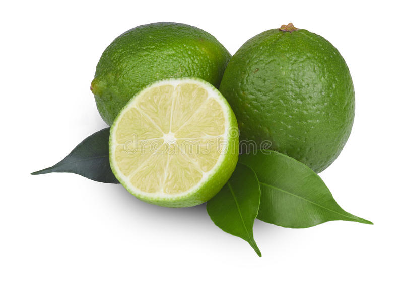 Fresh lime isolated. Fresh lime in close up stock photo