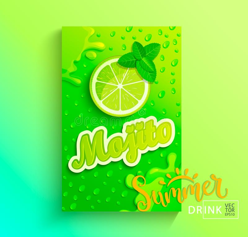 Fresh lime juice. Fresh mojito banner, lime juice with drops from condensation, splashing and fruit slice on hot summer background for brand,logo, template stock illustration