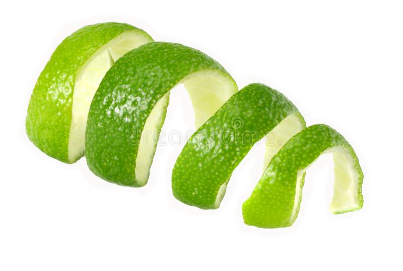 fresh lime peel isolated on white background. healthy food royalty free stock photo