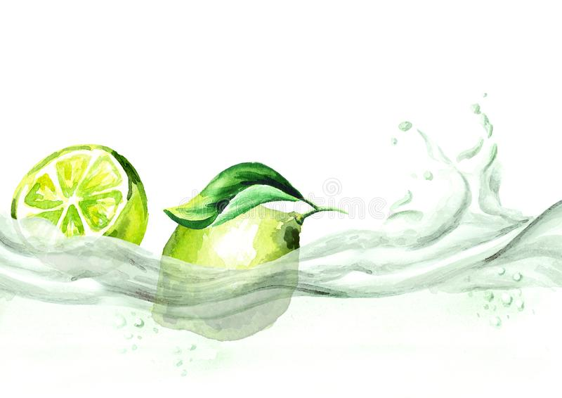 Fresh lime on a wave of juice, watercolor hand drawn illustration. stock illustration
